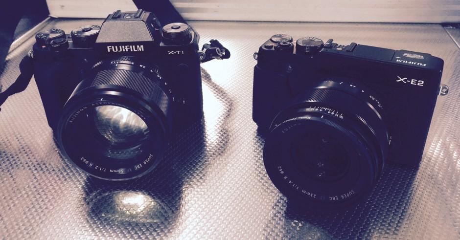 Fuji X-T1 + 56mm f1.2 (Izquierda) junto a Fuji X-E2 + 23mm f1.4 (derecha)